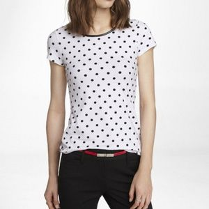 Express Faux Leather Trim Polka Dot Tee